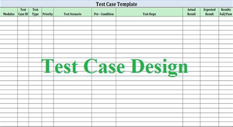 Test Design Template software test design work for quality