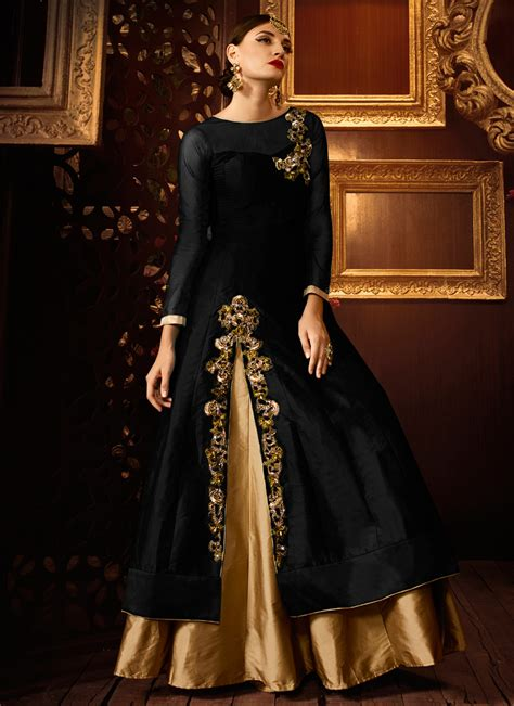 Indian Black Dress buy black color taffeta silk wear lehenga in uk usa