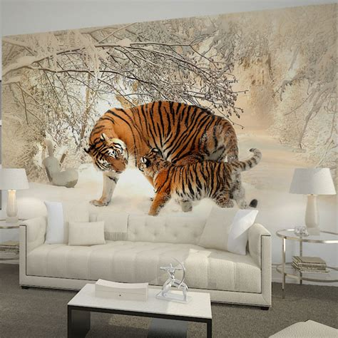 wall murals for rooms home decor wall papers mural 3d living room bedroom behang tiger snow forest photo wallpaper