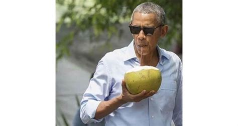 vacation obama pormer president barack obama is chillin with a coconut