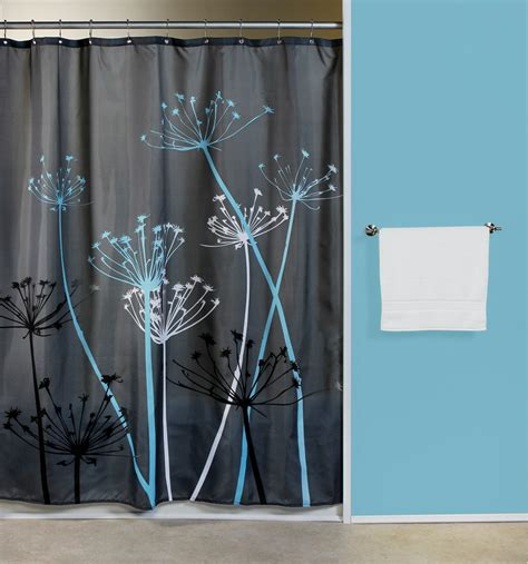 Blue And Gray Curtains Curtain Bath Outlet Thistle Gray Blue Fabric Shower Curtain