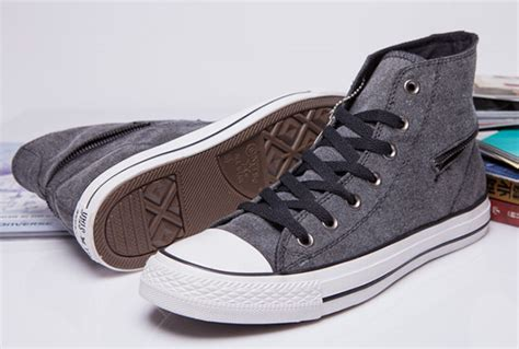Converse All High Grey grey converse side zip chuck all high tops canvas shoes converse flag shoes and