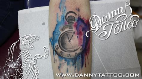 watercolor tattoo 10 years later relogio aquarela clock watercolor time lapse