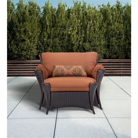 Patio Chair And Ottoman Hanover Strathmere 2 Patio Set With Oversized Armchair And Ottoman With Woodland