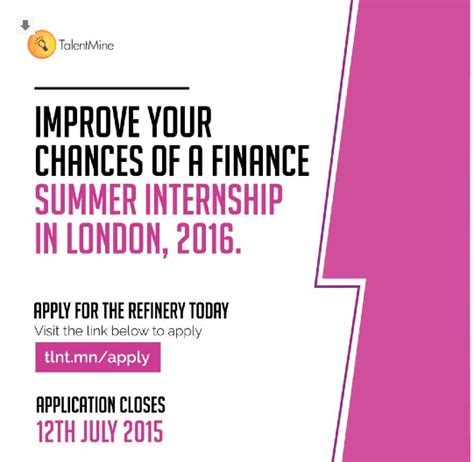 Mba Finance Summer Internships by 2015 Talentmine Refinery Finance Investment Banking