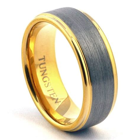 Mens Gold Tungsten Ring Wedding Band Brushed Jewelry