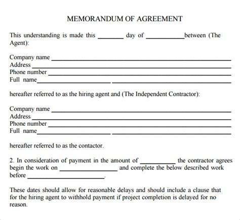 template of memorandum of agreement memorandum of agreement 9 free pdf doc