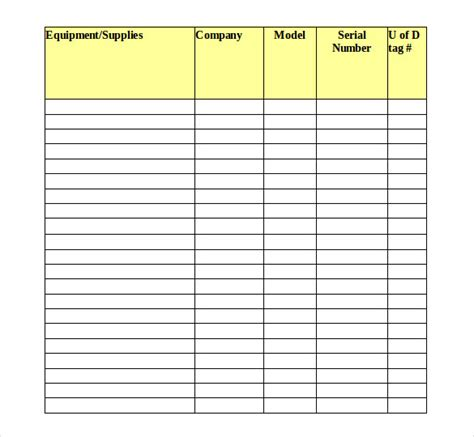 equipment inventory template 16 tool inventory templates free sle exle