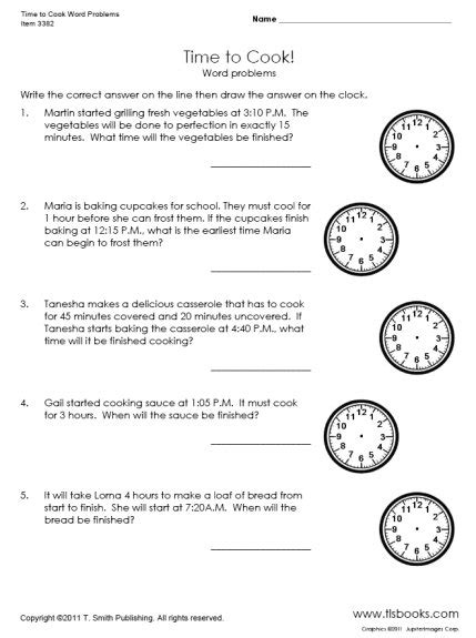 time to cook word problems worksheet secondgrade