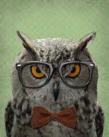 owl accessories owl decor owl art the studious owl owl art print 8x10