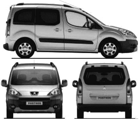 peugeot mini car blueprints 2008 peugeot partner minivan blueprint
