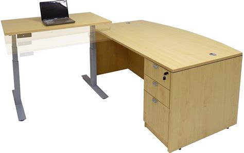 bow front desk with return electric lift height adjustable l shaped desks