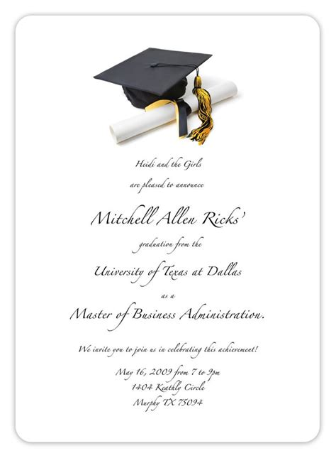 Minimalistic Graduation Invitation Card Template by Free Printable Graduation Invitation Templates Free