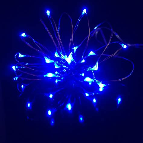 micro led light 20 blue led 1m micro lights on silver wire multi