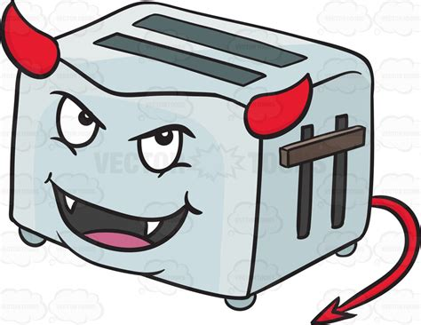 Side Toaster Cartoon Clipart Devilish Pop Up Toaster Smiling With