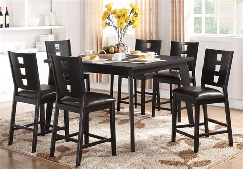 furniture brown wooden rectangle dining table with six 7 pcs counter height dining set rectangular table dark
