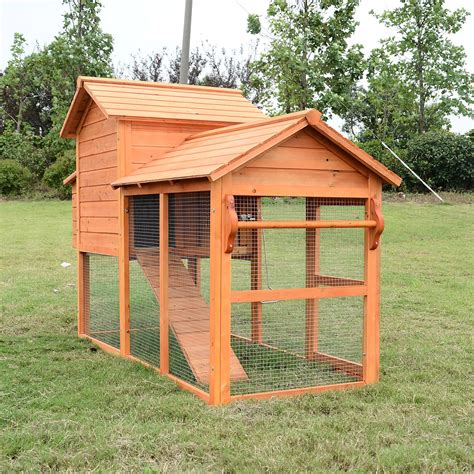 backyard chicken coops pawhut deluxe backyard chicken coop w outdoor run