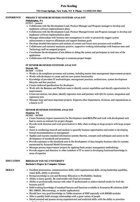 Resume Senior Systems Analyst by Senior Business Systems Analyst Resume Sles Velvet