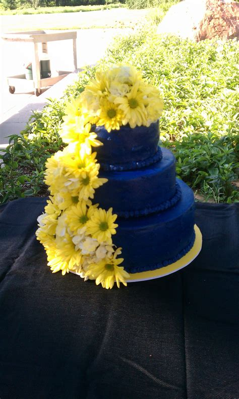 blue wedding cake with fresh yellow flowers cakes i ve made wedding yellow