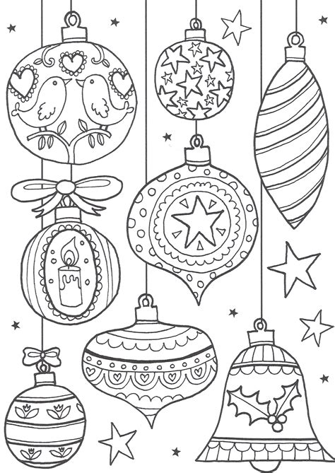 printable christmas tree baubles free christmas colouring pages for adults the ultimate
