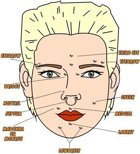 piercing diagram unique types of piercings piercings
