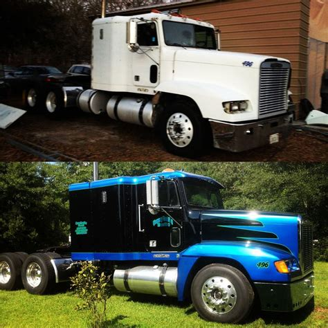 before and after on freightliner paint jobs and car