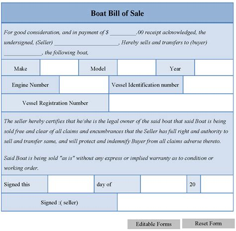 Boat Bill Of Sale Editable Forms Editable Bill Of Sale Template