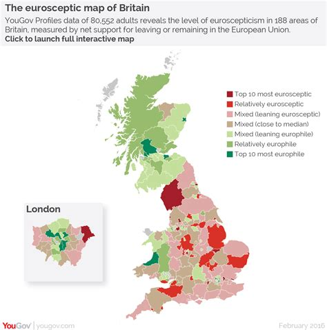 map uk remain leave yougov the eurosceptic map of britain