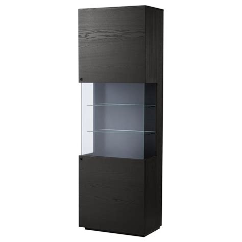 Black Cabinets With Glass Doors Orrberg Glass Door Cabinet Black Brown