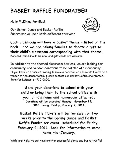 charity raffle letter template scope of work template school fundraising ideas