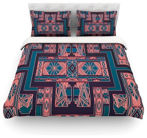art deco comforter set nika martinez quot golden art deco blue coral quot duvet cover