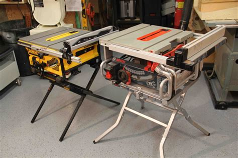bosch portable table saw bosch vs dewalt portable jobsite table saw stand