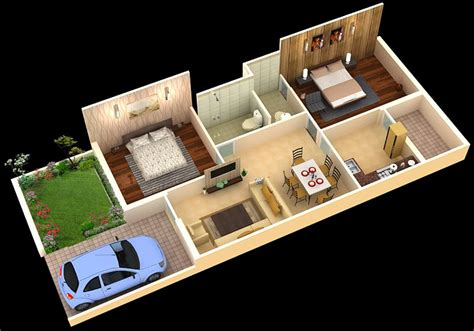 home design 2bhk foundation dezin decor 3d home plans sketch my