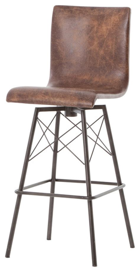 Distressed Leather Bar Stools by Diaw Industrial Iron And Distressed Leather Swivel