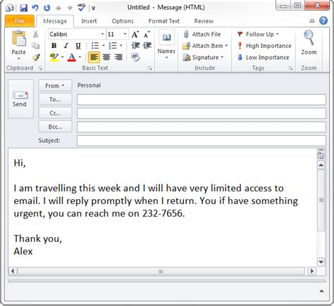 vacation email message template out of office auto response in outlook without exchange