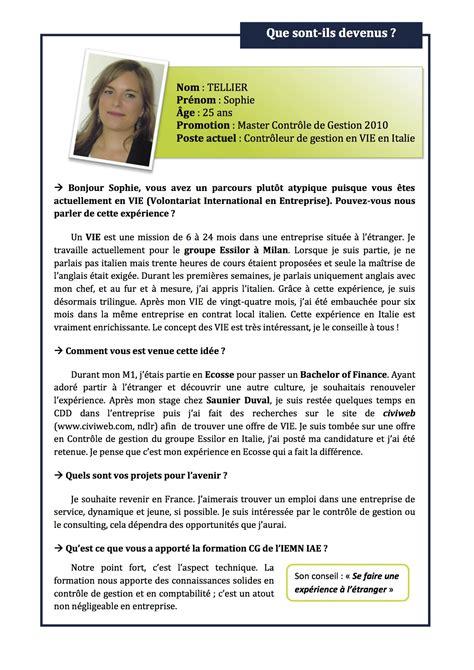Lettre De Recommandation Iae Tellier Contr 244 Leur De Gestion En Vie En Italie
