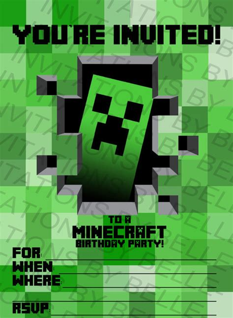 printable invitation minecraft printable minecraft birthday invitation by