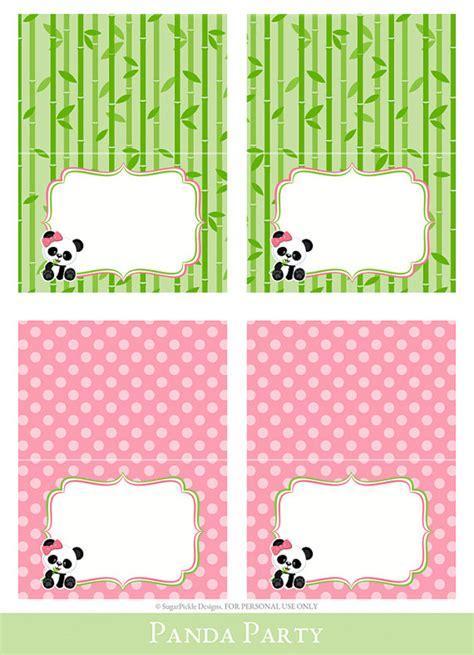 printable birthday cards with name panda tent cards tent cards printable foldable food cards