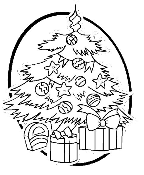 Christmas Tree And Presents Coloring Book Page Presents Tree With Gifts Coloring Pages