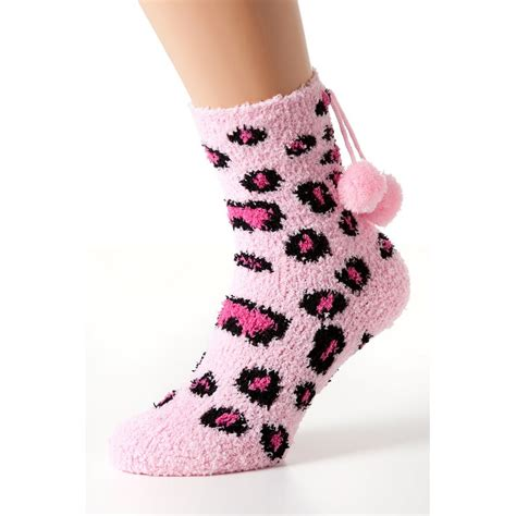 bed socks womens pink leopard print bed socks 2 pair pack