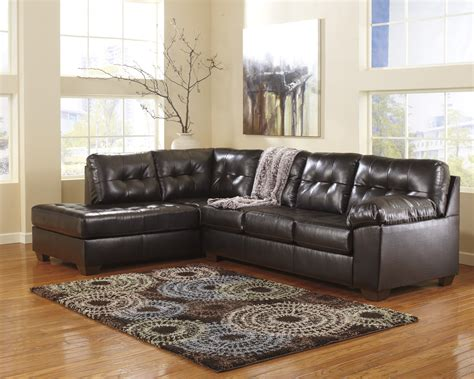 ashley chocolate sectional alliston durablend chocolate left arm facing sectional