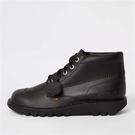 Kickers Gum Sole Black kickers black leather lace up boots boots shoes