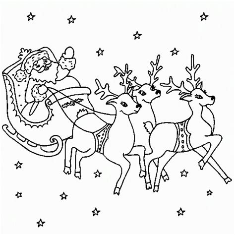 santa and reindeer coloring page coloring home