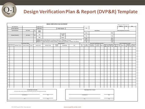 dvp r design verification plan and report quality one