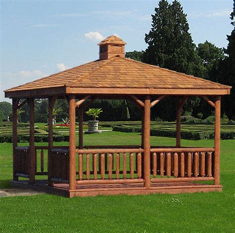 cedar gazebo kits cedar rectangle log patio gazebo kits large and small