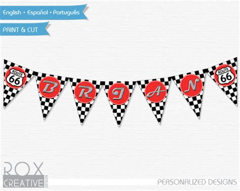 cars birthday banner template disney cars banner name racing flag route 66 disney cars