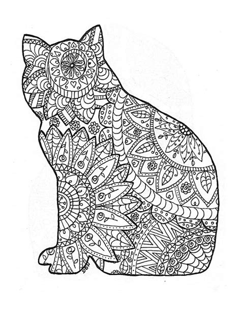 cat for adults colouring page original digital coloring