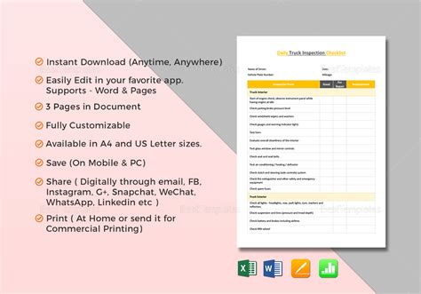 checklist template for apple pages best truck checklist template ideas exle resume and