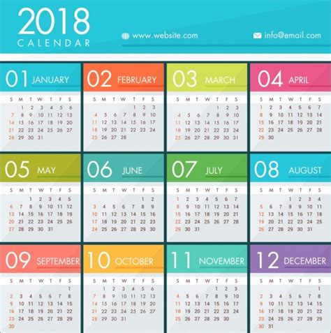 Calendar 2018 Vector Design 2018 Calendar Template Bright Colorful Modern Design Free