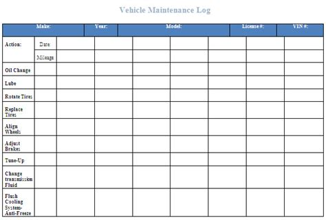 best photos of printable vehicle maintenance log template
